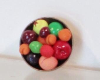 Brass bowl fruit dollhouse miniature