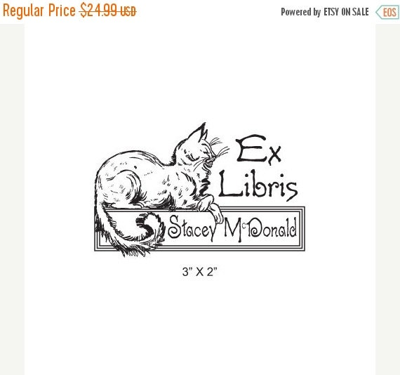 Octoberfest Sale Persian Cat Looks On with Disdain  Personalized Ex Libris Rubber Stamp K19
