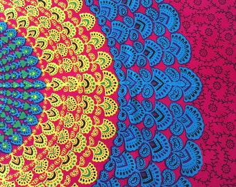 Hippie Tapestry Fabric Colorful Bohemian Starburst Pattern - Hot Pink