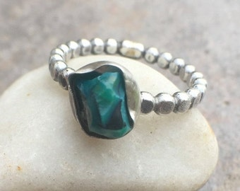 25% OFF - Raw Malachite Sterling Silver Ring Size 7.5