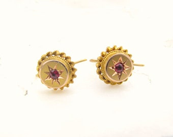 Dainty Antique Earrings, Beautiful Detail with Old Cut Garnets, Solid Gold, Sweet Ear Bobs, Victorian Period