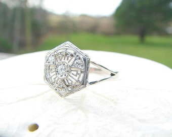Elegant Diamond Filigree Ring, Fiery Old Cut Diamonds, Intricate Design with Milgrain, Solid 14K White Gold, Edwardian to Art Deco