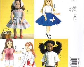 "McCalls 7266  18"" Retro Doll Clothes Top Dress Skirt Shorts Pants Blouse Coat Kerchief Ear Muffs Purse Sewing Pattern NEW"