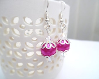 Hot Pink Pearl Earrings with Swarovski Crystals, Pink Bridesmaid Earrings, Jewelry For Bridesmaids, Pink Wedding Jewelry, Dangle Earrings