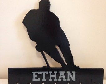 Hockey player sports medal holder personalized- pick your team colours