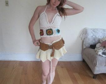 PIXIE SKIRT, crochet peplum skirt tennis skirt, beachcover up, crochet skirt, wedding, parties, festival clothing, summer, gypsy, boho