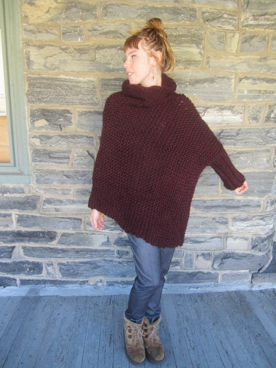 Arm Knitting Pullover : Poncho one arm asymmetrical sweater knit
