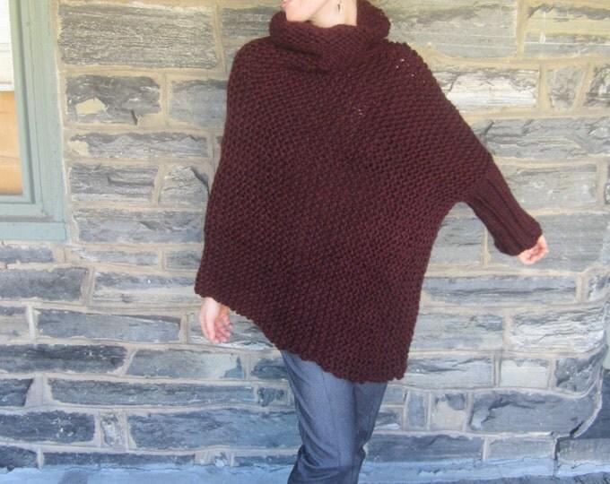 PONCHO, One arm poncho, Asymmetrical sweater, Knit Sweater, Burgundy Poncho, , One arm sweater,  one sleeve poncho, asymmetrical poncho