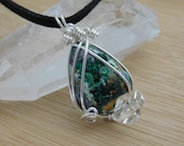 RESERVED for MARY ONLY!!! Malachite Chrysocolla Druzy Cabochon Diamond Quartz Sterling Silver Pendant Wire Wrapped  Medallion Amulet