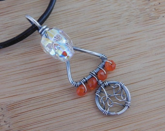 Crystal Skull Pendant Clear AB Swarovski Oxidized Sterling Silver Wire Web Carnelian Leather Cord Wire Wrapped Jewelry Goth Halloween Skull