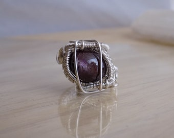Star Ruby Cabachon Ring Wrapped in Silver Parawire Wire Wrapped Jewelry Handmade Size 8 Crystal Healing Shimmering Authentic Dark Red Ruby