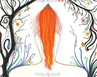 Nude Original Art Female Woman figurative Redhead Tree