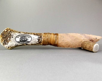 Hand Made Rustic Ornamental Knife, Sika Deer Antler, knapped stone blade, scrimshaw knife, sailing ship, oval rope border