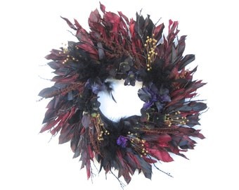 Black red purple dried and silk flower wreath