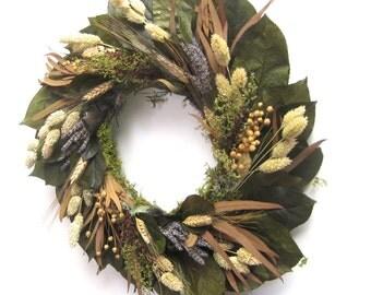 Green Tan Blue preserved lemon leaf lavender and wheat Harvest wreath