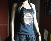 Sturgis Motorcycle Biker tank top halter neck upcycled small medium large