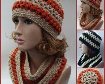 Lace and Puff Stitch Hat & Cowl ~ Crochet Pattern