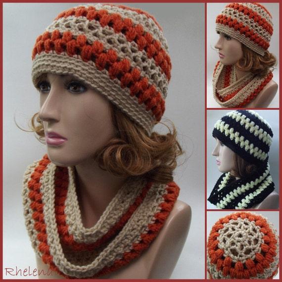 Lace and Puff Stitch Hat & Cowl Crochet Pattern