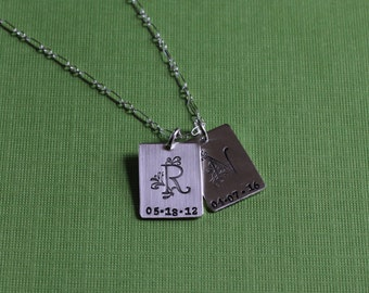 Sterling Silver Initial and Date Necklace