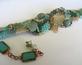 Seamist Freeform Peyote Beaded Bracelet, Beaded Bracelet, Peyote Bracelet, Sea Breeze, Ocean, Aqua Blue Bracelet, Artisan Design, Handmade