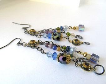 Long Dangle Earrings, Shooting Stars, Vintage Beads, Bohemian Style, Crystal Beads, Fancy, Blue, Sparkling, Gift Idea for Her, Fantasy, Boho