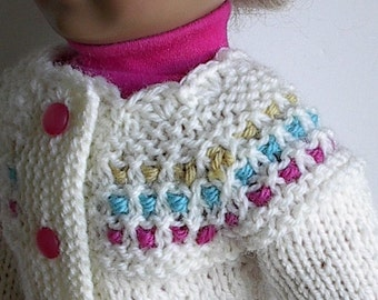 "18 Inch Doll Clothes Handknit Cardigan Sweater in Cream with Gold, Blue and Pink Accents Handmade to fit American Girl and Other 18"" Dolls"