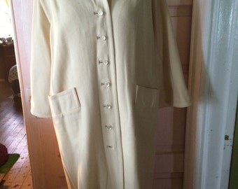 Vintage 1980's wool cream colored trench coat/house coat size M