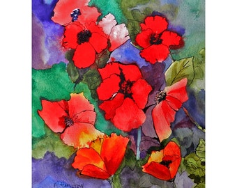 Painting Flowers, Poppies, Original Watercolor Flowers Art, 9 x 12, Bright Floral, Creative Gift, Home Office Wall Art, Poppy Gathering