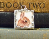 Tasha Tudor Brown Bunny Rabbit Pendant - Soldered Glass Pendant w/ Vintage Tasha Tudor Book Illustration - Bunny Charm - Spring Jewelry