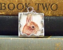 Tasha Tudor Brown Bunny Rabbit Pendant - Soldered Glass Pendant w/ Vintage Tasha Tudor Book Illustration - Bunny Charm - Spring Jewelry