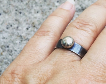 Modern Rustic Sterling Silver Pebble Ring Size 7.75
