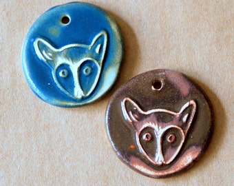 2 Handmade Ceramic Beads - Rustic Little Foxes in Denim and Brown Stoneware By Beadfreaky