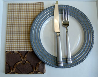 Rodeo Tan Cloth Bistro Napkin / single cloth napkin / rustic brown napkin / khaki gingham cloth napkin / cowboy western Texas table linens