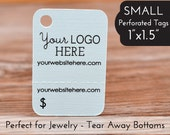 "84 - Perforated Price Tags - 1""x1.5"" Tear Away Bottom - Jewelry Hang Tags"