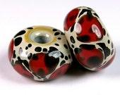 Lampwork Bead Pairs, Glass Earring Pairs, BBGLASSART - Lampwork Boro Bead Pair, Red Leopards