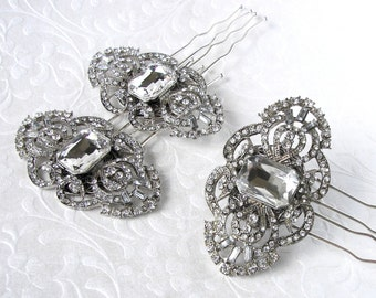 1920s Art Deco Style Jewelry Hairpiece Bohemian Chic Vintage Bride Rhinestone Wedding Hair Comb Ballroom Hairpin Pageant Downton Gatsby Prom