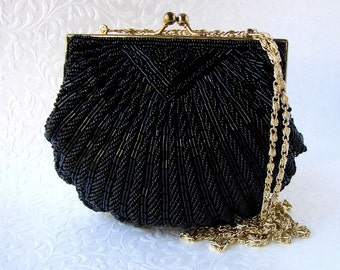 Vintage La Regale Black Beaded Purse Jet Glass Bead Handbag Shell Clutch Gold Frame Long Shoulder Strap Formal Evening Bag Wedding Prom