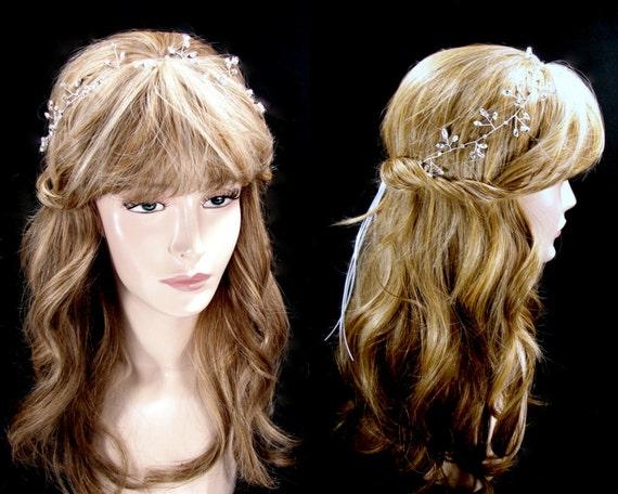 "18"" Rhinestone Hair Vine Wedding Hairpiece Jeweled Diadem Bridal Headpiece Boho Reign Tiara Bohemian Chic Bride Branches Leaves Silver Gold"
