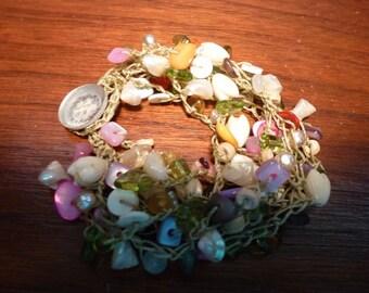 My Beach Garden - Handmade Bead Crochet Bracelet with Strands of Pastel Shells, Vintage Tulip Flowers,Baroque Pearls on Sturdy Jewelry Cord