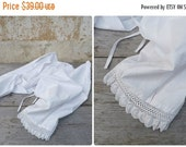 ON SALE Vintage Antique 1900 Victorian French bloomers white cotton handmade crochet lace pantalons size S/M/L