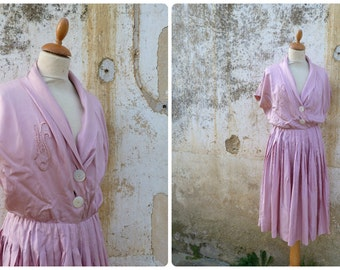 Vintage 1950/50s French homemade pink silk pleated dress mid century  size L