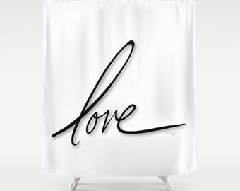 Love Shabby Chic, Shower Curtain, Black, Type, Typography Art,  from Original watercolor painting by Kathy Morton Stanion  EBSQ