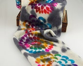 Sparkle sock Blank - Psychedelic Flower- Dappled white and grey under dye with brightly colored stencil flowers on top