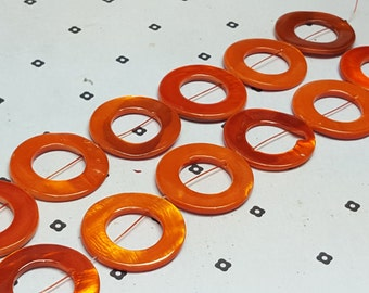 Orange Mother of Pearl Donut Beads
