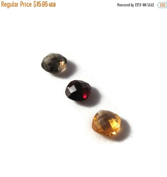 Labor Day SALE - Three NON DRILLED Gemstones, Citrine, Garnet and Smoky Quartz Stones for Making Jewelry & Setting, 6x4mm Gemstone (Luxe-Nd2