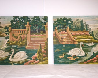 Vintage Paint by Numbers Gorgeous Pair of Paintings - Sweetest Swan Lake