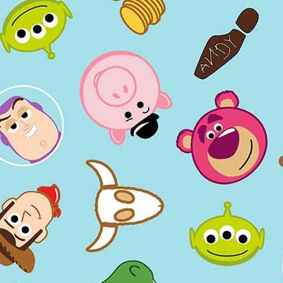 Disney Toy Story Emoji Character Toss Cotton Fabric Yard