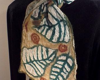 Nuno felted leaf scarf