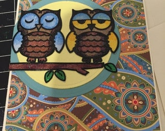 Glittered Owls on Twig - Perfect Birthday Card - Anniversary or  Blank Note Card
