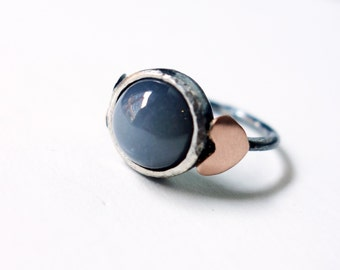Gray Moonstone and 14k Rose Gold Sweetheart Ring